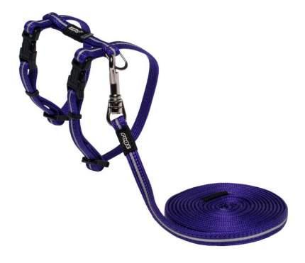 Комплект поводок и шлейка для кошек Rogz AlleyCat XS-8мм 1,8 м (Фиолетовый CLJ216E)