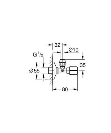 Угловой вентиль GROHE 1/2″ - 3/8″ 22037000