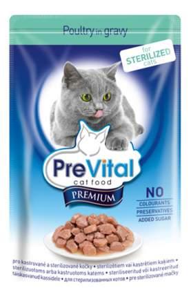 Влажный корм для кошек PreVital Premium Sterilized, с птицей в соусе, 100г