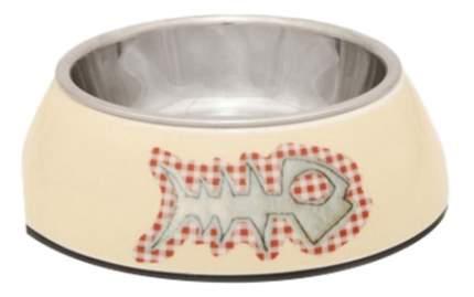 Одинарная миска для кошек Beeztees, сталь, бежевый, серебристый, 0,16л