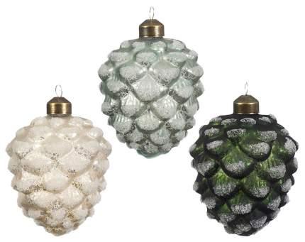 Kaemingk Набор стеклянных елочных игрушек Шишки Сосновые Заснеженные 10 см, 12 шт *