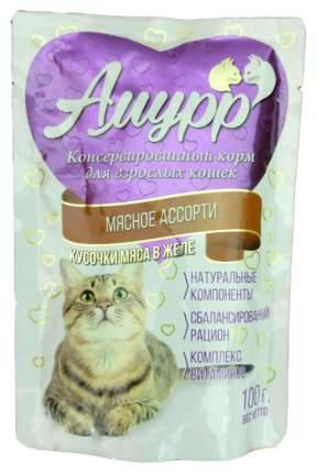 Влажный корм для кошек Амурр мясное ассорти 100 г 24 шт