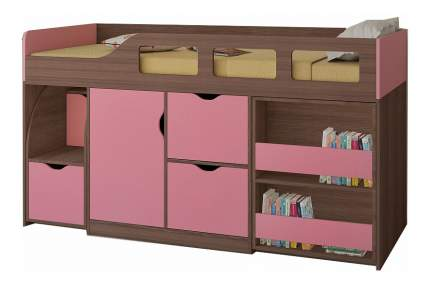 Кровать-чердак РВ мебель Астра 8 дуб шамони/розовая