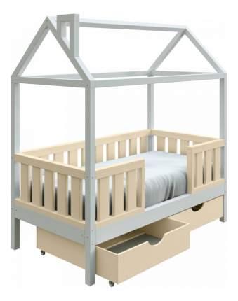 Кровать-домик Трурум KidS Сказка широкий бортик, ящики сливочно-белая