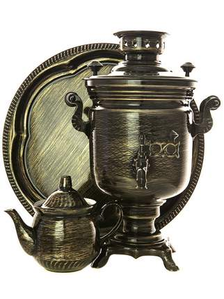 Набор самовар электрический 3 л с росписью Золотые нити