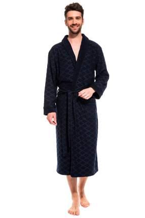 Мужской облегченный махровый халат из бамбука Peche Monnaie 420, синий, L