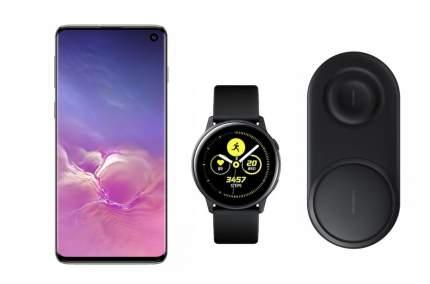Смартфон Samsung Galaxy S10 128Gb Onyx+часы Watch Active+беспроводная зарядка EP-P5200