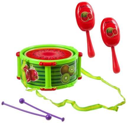 Набор музыкальных инструментов Yako Toys Барабан с палочками, цвет зеленый