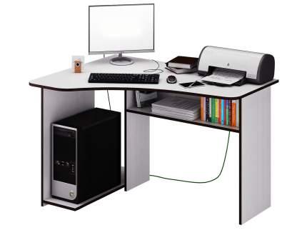 Угловой компьютерный стол с полками МФ Мастер Триан-1 Белый, Левый