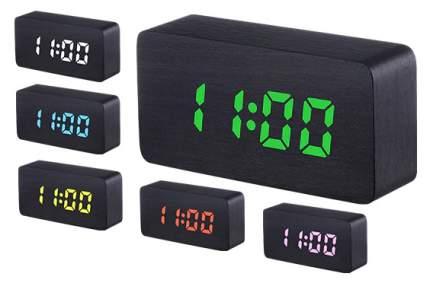 Деревянные настольные многоцветные RGB-LED часы SLT-9005A