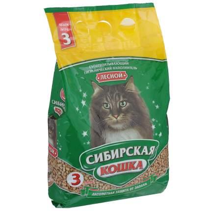Впитывающий наполнитель Сибирская кошка Лесной древесный, 1.9 кг, 3 л