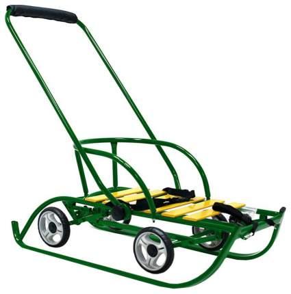 Санки Санимобиль Премиум с колесами, зеленые