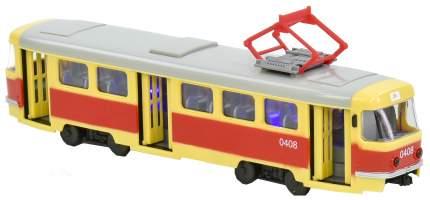 Инерционный трамвай PLAYSMART Автопарк - Tatra T3SU, бежево-красный, 1:87