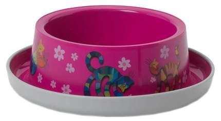 Одинарная миска для кошек MODERNA, пластик, розовый, 0.35 л