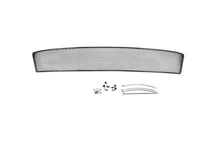 Сетка на бампер внешняя arbori для Skoda Octavia A7 2014, черная, 15 мм, с ПТФ