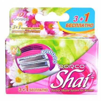 Сменные кассеты DORCO SHAI 4 кассеты, 6 лезвий на двойной сгибаемой головке