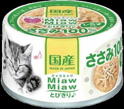 Консервы для кошек AIXIA «MiawMiaw» Tobikiri, куриное филе и ширасу в нежном желе 60г