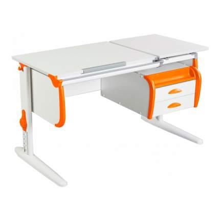 Парта Дэми СУТ-25-03 WHITE DOUBLE со столешницей белый, оранжевый, белый,