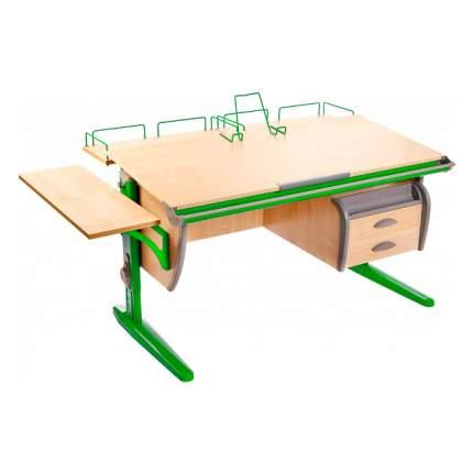 Парта ДЭМИ СУТ-15-05 120х55 см + 2 приставки + боковая приставка + тумба клен, зеленый,