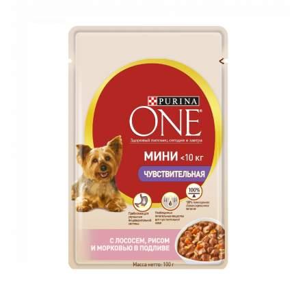 Влажный корм для собак Purina One МИНИ Чувствительная, с лососем, рисом и морковью, 100г