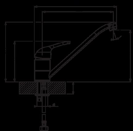 Смеситель для кухонной мойки Florentina Gamma AV 33.26L.1110.305 серый