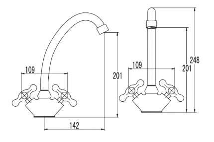 Смеситель для кухонной мойки SmartSant Смарт-Кросс SM110001AA хром