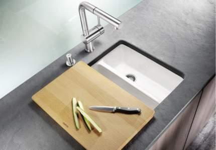 Мойка для кухни керамическая Blanco SUBLINE 350/150-U 514522 глянцевый белый