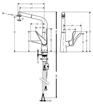 Смеситель для кухонной мойки Hansgrohe Metris 14821000 хром