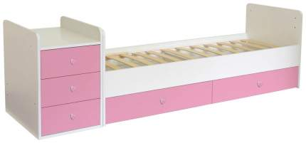 Кровать-трансформер детская Polini Kids Simple 1111 с комодом, Белый/Роза