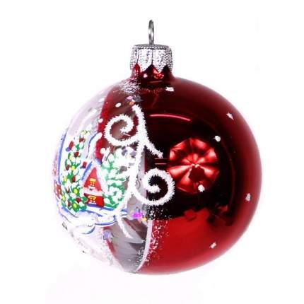 Шар на ель Новый год 7.5 см С 43-красный