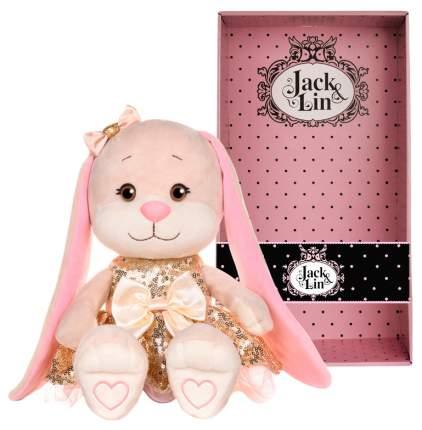 """Мягкая игрушка """"Зайка Lin"""" в золотом платьице с пайетками 20 см JL-253-20 Jack and Lin"""