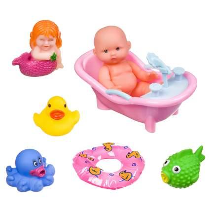 """Набор для купания Bondibon """"Пупс, ванночка, круг, русалка, осьминог, рыбка, уточка"""""""