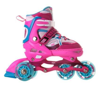 Раздвижные роликовые коньки RGX Sonic Pink LED подсветка колес XS 27-30