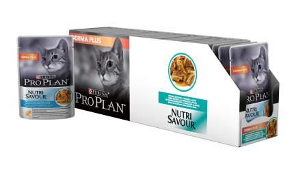 Влажный корм для кошек PRO PLAN Nutri Savour Derma Plus, треска, 24шт, 85г