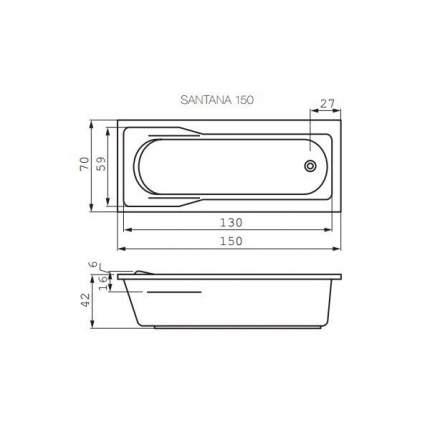 Акриловая ванна Cersanit WP-SANTANA*150-W