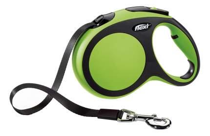 Рулетка-поводок FLEXI New Comfort L до 60кг лента, 5м, черный, зеленый