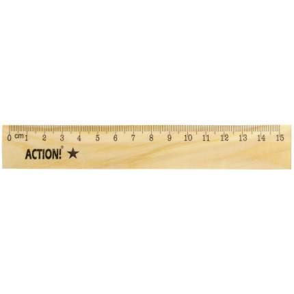 Линейка ACTION! 15 см деревянная