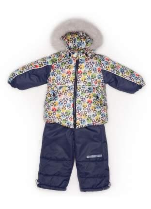 Комплект: куртка и полукомбинезон с опушкой N297/1 (Матрешки+синий)