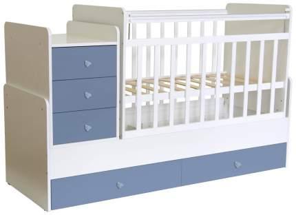 Кровать-трансформер детская Polini Kids Simple 1111 с комодом, Белый/Синий