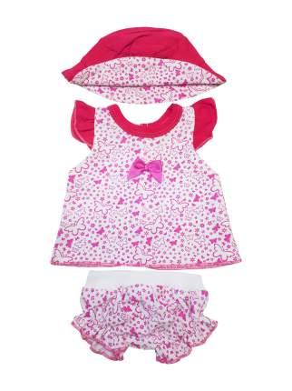 Набор одежды для кукол КоЛибри Туника и трусики со шляпкой Колибри 64 Розовый белый