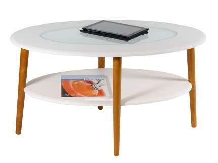 Журнальный столик Калифорния мебель Стол журнальный Эль со стеклом СЖС-01 Белый