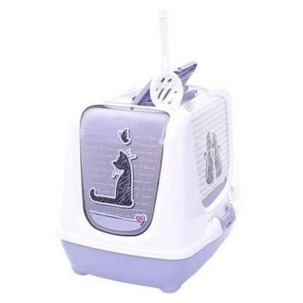 Туалет для кошек MODERNA Trendy cat, прямоугольный, фиолетовый, 57х45х43 см