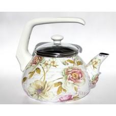 Чайник для плиты Interos Франция 2,2л эмалированный со стекл. кр.