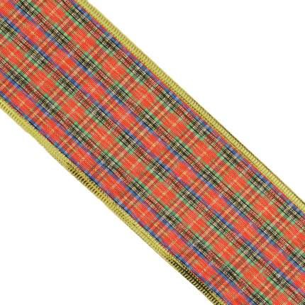 Лента декоративная Феникс Present Красно-зеленая 6,3x270 см
