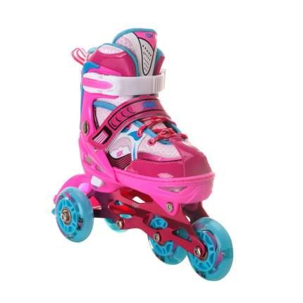 Раздвижные роликовые коньки Sonic Pink LED подсветка колес S (31-34)