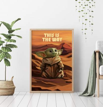 Постер Baby Yoda 60х90 в рамке
