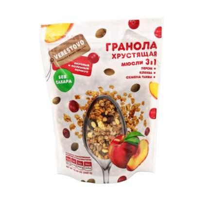 Гранола хрустящая без сахара персик клюква семена тыквы 300 г