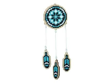 """Алмазная вышивка на дереве Гранни Wood """"Ловец снов - синий"""", 7x7,5 см"""