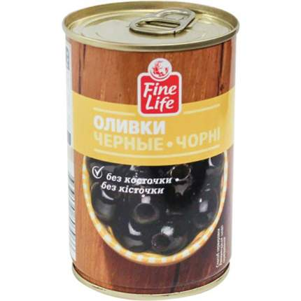 Оливки Fine Life черные без косточки 300 г