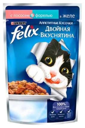 Влажный корм для кошек Felix Двойная вкуснятина, лосось, рыба, 24шт, 85г
